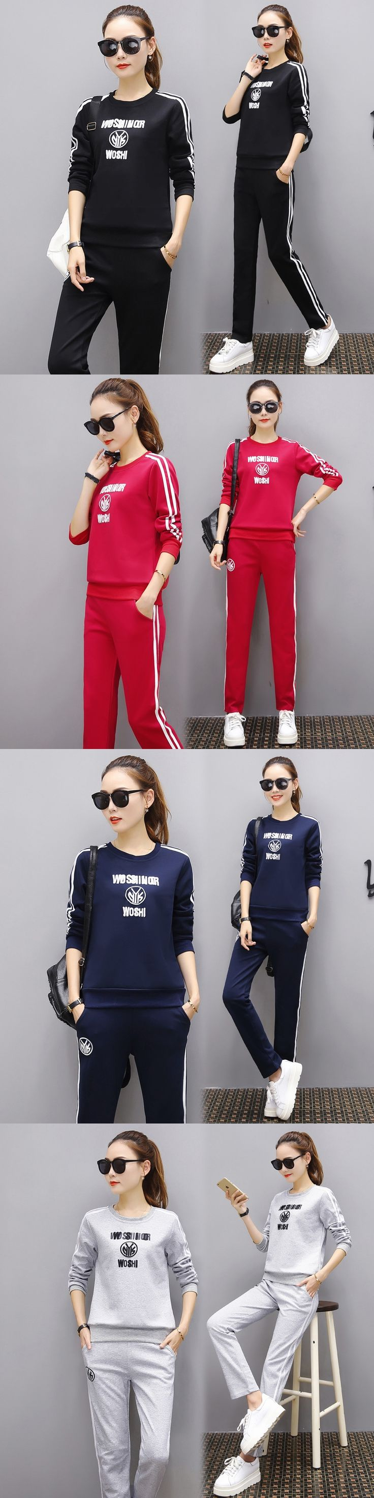 Ladies sportswear fall winter fashion letters stripes embroidery ladies sportswear round neck casual two-piece ladies suits