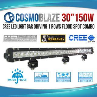 "Cosmoblaze 30"" 150W CREE LED Light Bar Driving 1 rows FLOOD SPOT COMBO"