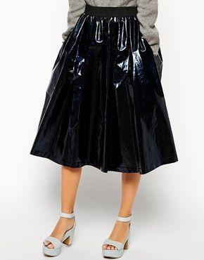 Enlarge ASOS WHITE High Shine Linen Mix Skirt