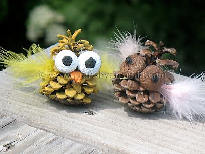 These little Pinecone Owls are a fun craft while sitting around the picnic table. Simply find some pinecones out in the woods (if that works with your location) and add a few acorns and feathers and paint. A and H PLEASE make me some of these!