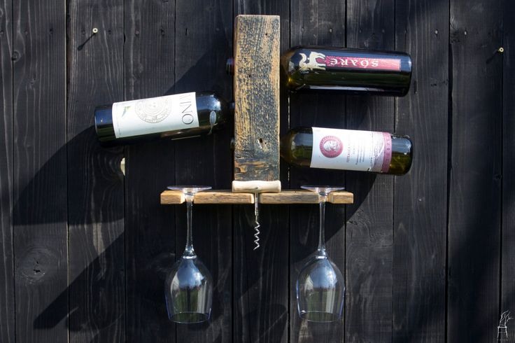 3 and 6 bottle Hanging Wall Wine Rack - handmade from reclaimed wood by PriosTeam on Etsy