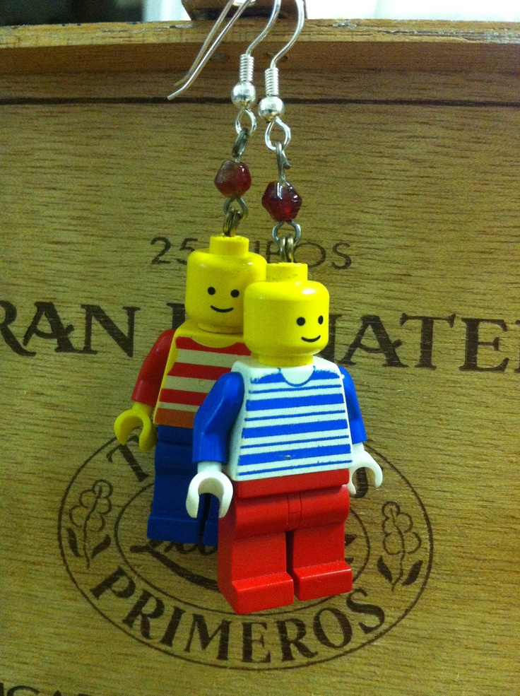 #DIY #recycle #lego #earrings I also just made a new batch of lego earrings, here a pair (I like to call´em my Sailor Legos) (or #hipster) that also got sold almost immediately after posting on my FB page.   http://www.facebook.com/Welukontu