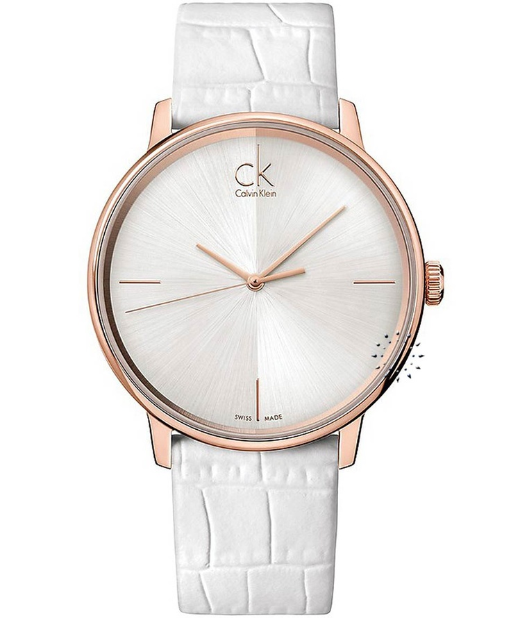 CALVIN KLEIN Accent White Leather Strap, 249€ http://www.oroloi.gr/product_info.php?products_id=31922