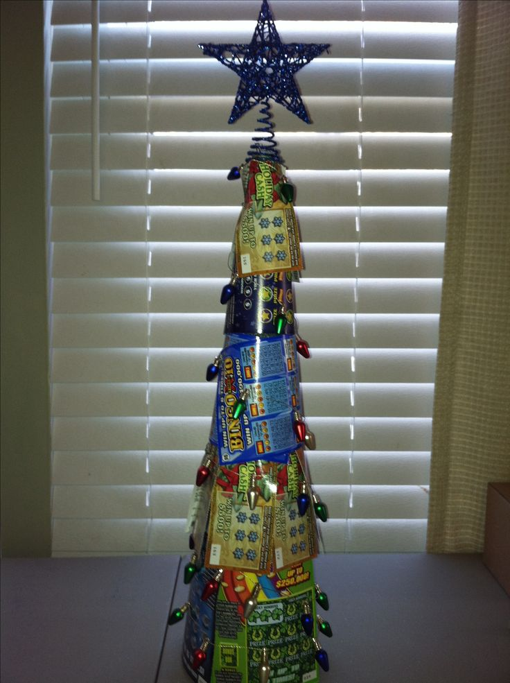 "Lottery Christmas Tree - take a foam form, pin lottery tickets to it as the ""leaves"" and then buy decorations for mini-Christmas tree."