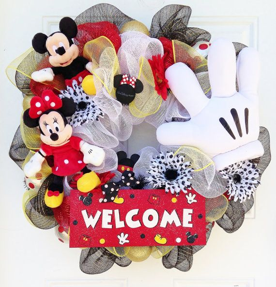 Mickey Mouse Wreath by SparkleForYourCastle on Etsy, $149.00