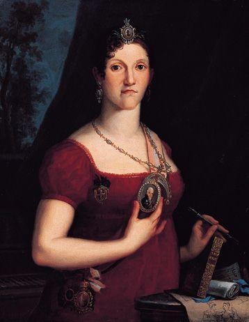 """""""D. Carlota Joaquina"""". [Carlota Joaquina Teresa Cayetana de Borbón y Borbón]. Esposa de D. João VI. (Aranjuez, 25/Abril/1775 - Lisboa, 07/Janeiro/1830) (Autor: desconhecido)."""