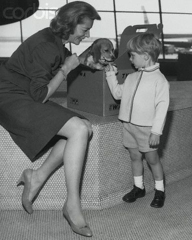 Lauren Bacall and her son Sam Robards (from her marriage to Jason Robards Jr.) ca 1964