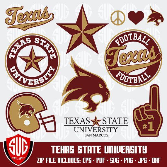 Texas State University monogram svg, Texas Silhouette Studio, Texas State University Cricut, Screen Printing, Cameo, Logo_9