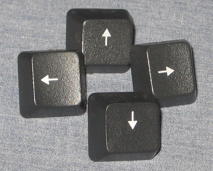 Black Arrow Keyboard Keys x4 Replacement Altered Art Jewelry Craft Supplies - Altered Art & Collage