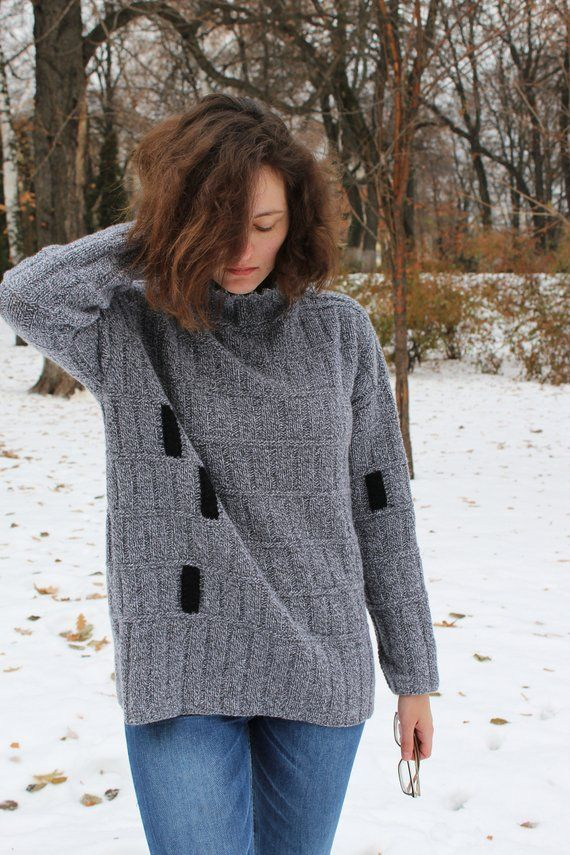 d0e50b2fa82 Gray oversized hygge sweater dress Cowl neck loose fit merino wool ribbed sweater  jumper Womens hand