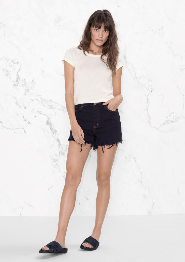 & Other Stories image 2 of Frayed Denim Shorts in Blue