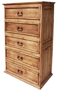 This rustic highboy dresser is on sale and very affordable.  The five large drawers have ample room for underwear, sweaters, jeans, T-shirts, and sweats.  Hand made of solid pine by Mexican craftsmen; the exterior has a distressed finish.  You will appreciate the detail of the paneled sides, smooth drawer fronts and iron hardware.  The southwestern style complements many other furniture designs.
