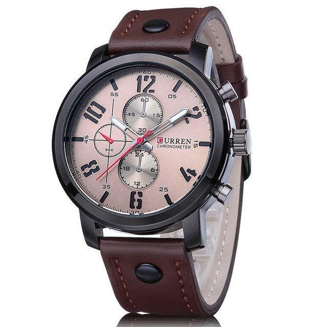 Fashion Brand Quartz Watch Men Casual Leather strap Business Wristwatch Military Sport Relogio Male montre homme Curren 8192 New