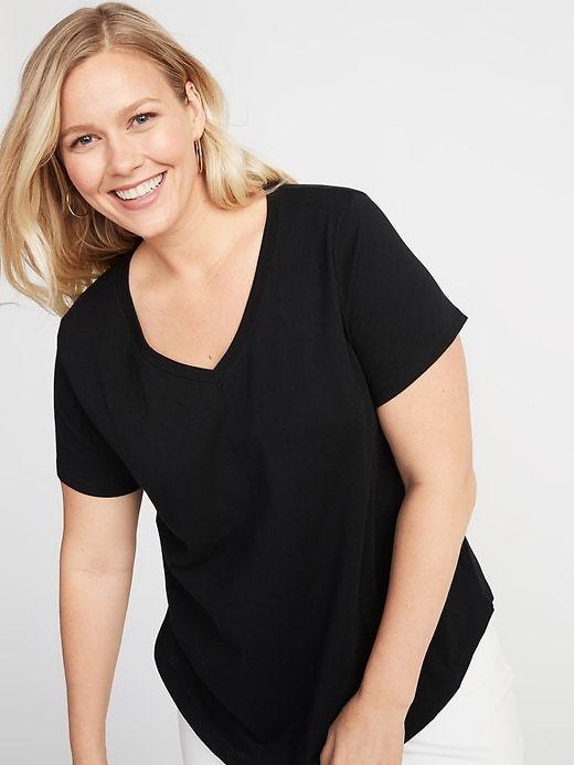 64895e6c81 Old Navy Women's Everywear Plus-Size V-Neck Tee Black Plus Size 4X ...