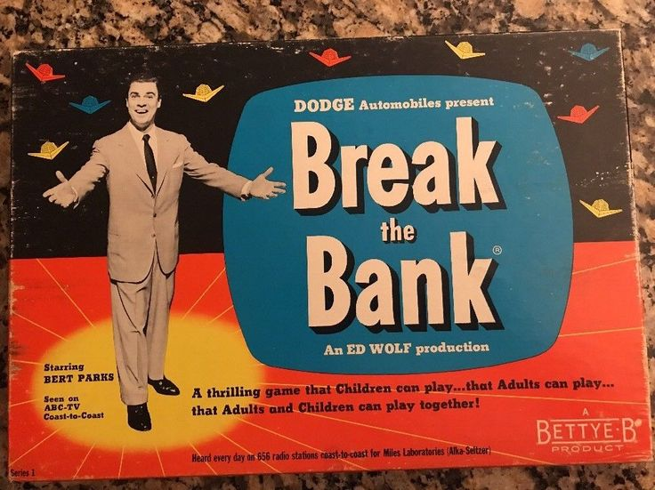 "Vintage ""Break the Bank Game 1955, Dodge, Bettye-B, ABC TV Series 1"