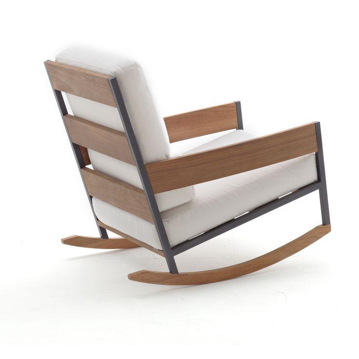 nap chaise berante roda acier inoxydable teck jardin de ville - Chaise Eleven Patchwork Colors