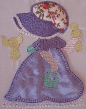 BES388_SINGLE: Country Sunbonnet5 Country Sunbonnet done in pretty satin and matching 'granny print'.  Bring her to 'life' using our 'stump work' method.  She is so pretty and perfect for all those special projects.  Country Sunbonnet is really fun to make ;) http://tinyurl.com/zcrcet5