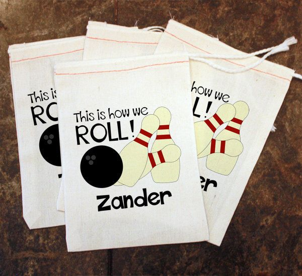 Bowling Favor Bags - Kids Bowling Party Favors / This is How We Roll / Muslin Bags / Toddler Custom Goodie Bags / Bowling Goody Bag 5x7 by ScrapendipityBags on Etsy https://www.etsy.com/listing/209444233/bowling-favor-bags-kids-bowling-party