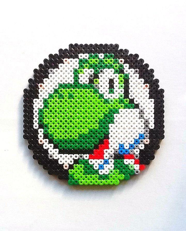 Super Mario Bros: Large Yoshi Head Perler Bead Sprite by nintendo-universe