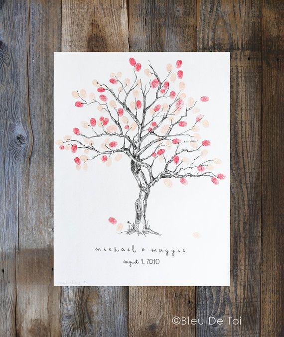 Personalizada boda los libro alternativa, árbol de huellas dactilares, XS flor de cerezo, personalizada boda libro de visitas, ducha de bebé de árbol de huella digital