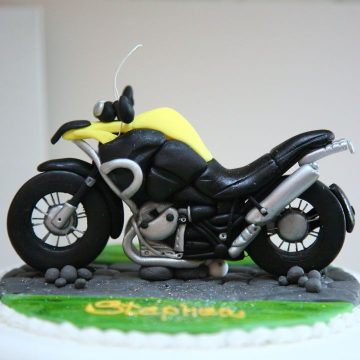 This isn't just any motorbike cake topper... ...this is an Amanda's Cake Art miniature replica motorbike cake topper!