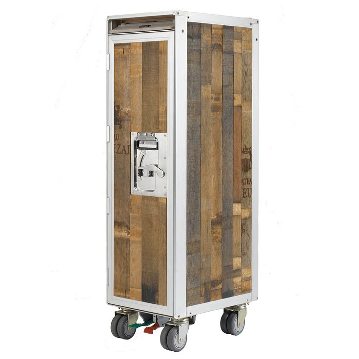 Skypak Airline Reclaimed Trolley Beverage Cart - made from classic airline serving carts and reclaimed wine and whiskey barrel timbers.