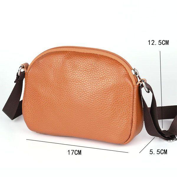 Women Genuine Leather Cowhide Casual Shoulder Bag  Phone Bag Crossbody Bag