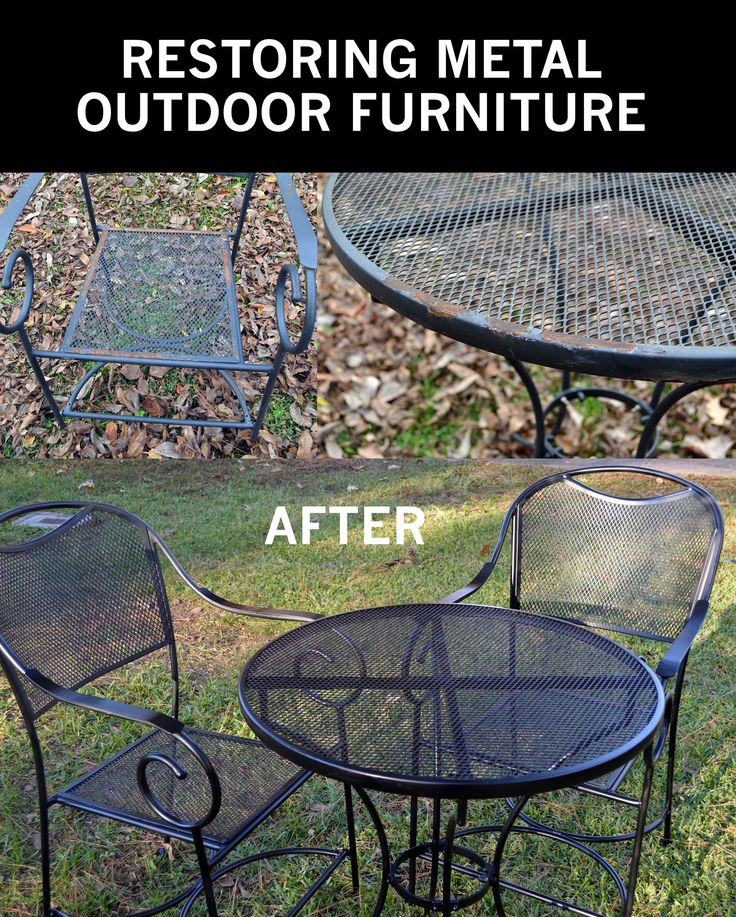 A few years ago, I bought a really cute patio furniture set which was composed of a small metal table and two matching metal chairs. I put them on the front porch under the arbor. They were great f…