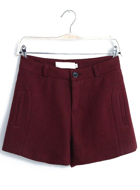 Wine Red Pockets Straight Woolen Shorts US$22.79