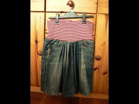 denim recycled/ jeans recycled/sewing for begginers/ jednoduchá a pohodlná sukně z riflí/ recyklace riflí snadno a rychle/ Videa  - YouTube