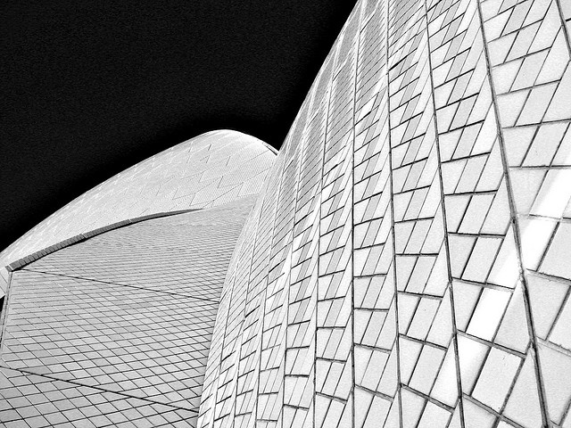 """""""Sydney Opera House: The patterns of the tiles on Sydney Opera House, lit by the afternoon sun of the last day of 2007."""" by Flickr user LSydney"""