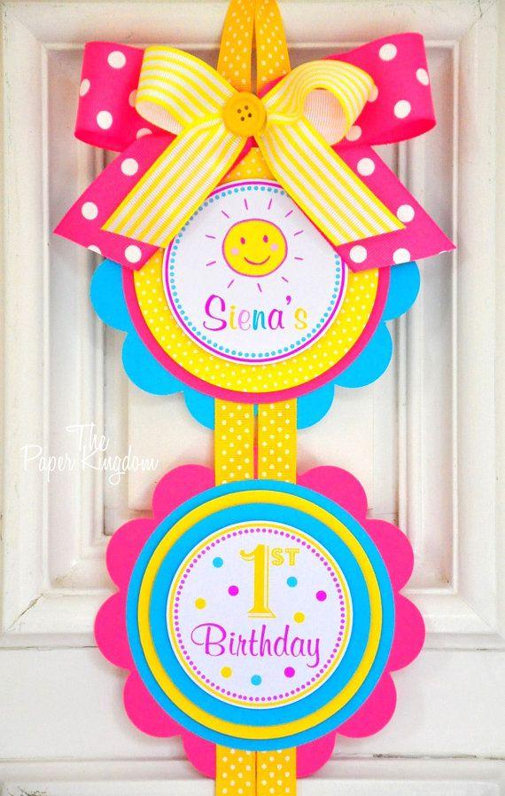 You are my Sunshine Vertical Door Sign, Welcome Door Hanger in Yellow, Hot Pink and Sky Blue