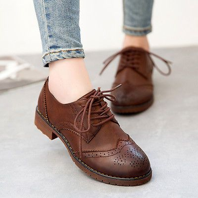 Girls Oxford Retro College Shoes Womens Brogues British Lace Up Low Heels Shoes