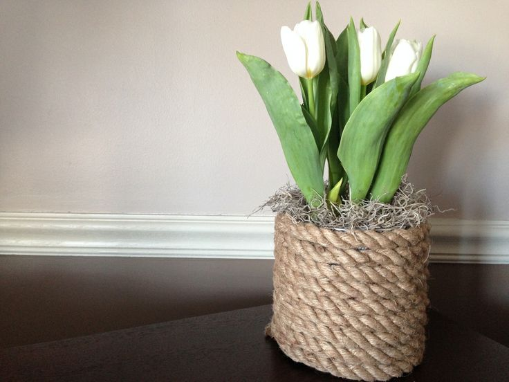 #DIY rope vase |  Glue gun from Joann.com or Jo-Ann Fabric and Craft Stores #upcycle project via @Bethany Aten