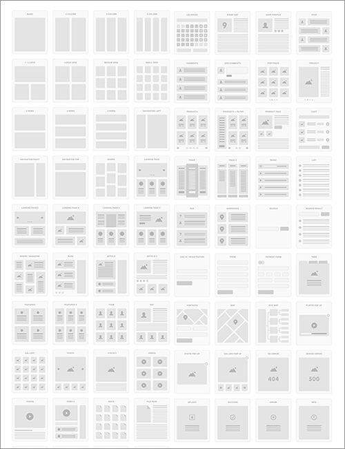 最近のWebデザインでよく採用されているレイアウト・UIパターン72種類が収録されたPSD, AI, Sketchの無料素材。