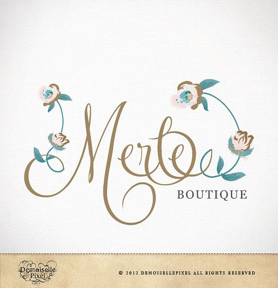 Boutique Logo Design Custom Calligraphy Text Flowers For