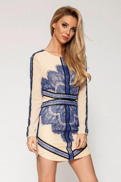 Long Sleeve Dress #blue #nude #lace