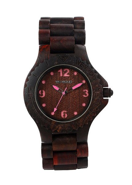 Beautiful eco friendly WeWood watch - the kale choco-pink is made  from 100% wood and features miyota movement. $120 | WeWood New Zealand.