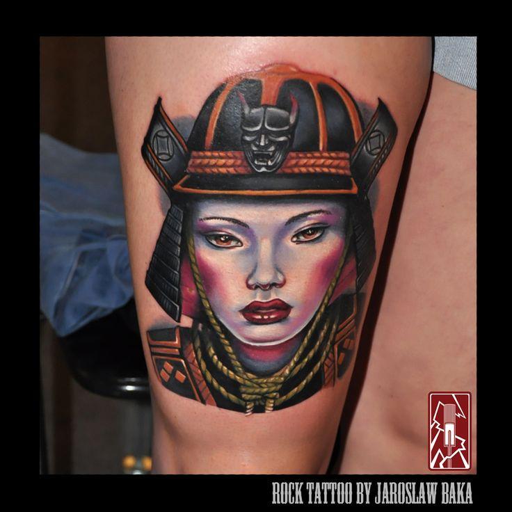 Samurai / geisha warrior Done by Jaroslaw Baka  Jaroslaw Baka Tattoos and Artwork  https://www.facebook.com/jaroslawbakatattoos https://instagram.com/jaroslawbaka/  https://www.rocktattoo.pl