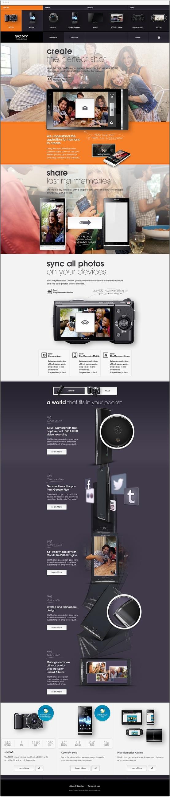 #webdesign concept for Sony phones & cameras