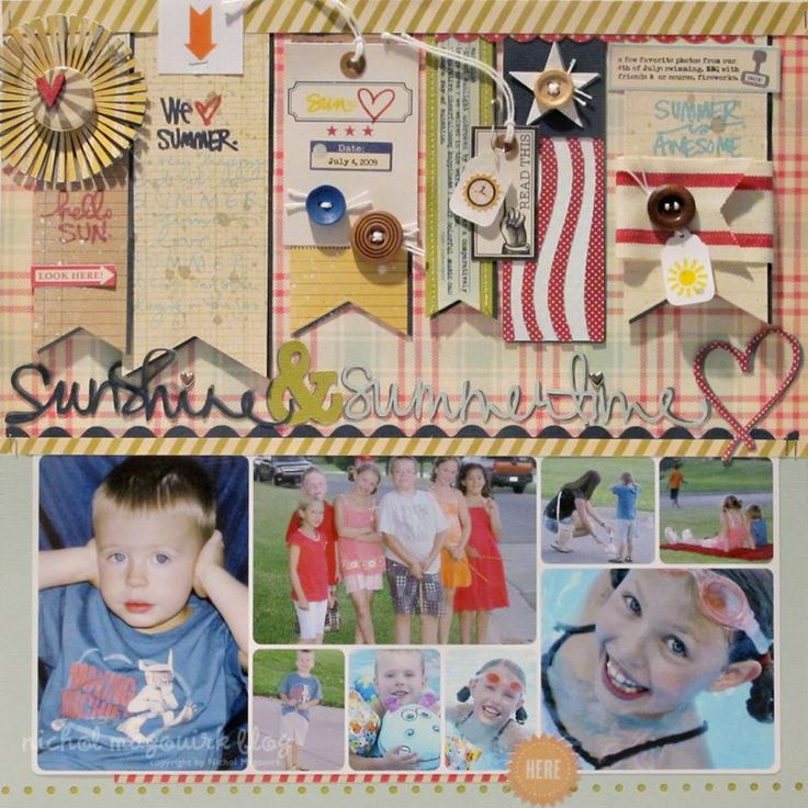 Love this page Nichol Magouirk in honor of Summer! She used the Summer Rocks by Ali Edwards stamp set from TechniqueTuesday.com.Flags Penne Die, Nichols Magouirk Scrapbook, Banners Ideas, Banners Title