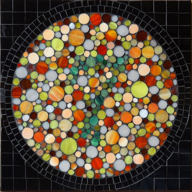 'Do You See What I See?' Stained Glass Mosaic by Barb Keith  Colourblind people may have difficulty seeing this