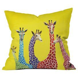 """Throw pillow with a giraffe motif by artist Clara Nilles from DENY Designs. Made in the USA.   Product: PillowConstruction Material: Polyester cover and fiber fillColor: MultiFeatures:  Designed by Clara Nilles for DENY DesignsInsert included Dimensions: 18"""" x 18"""""""