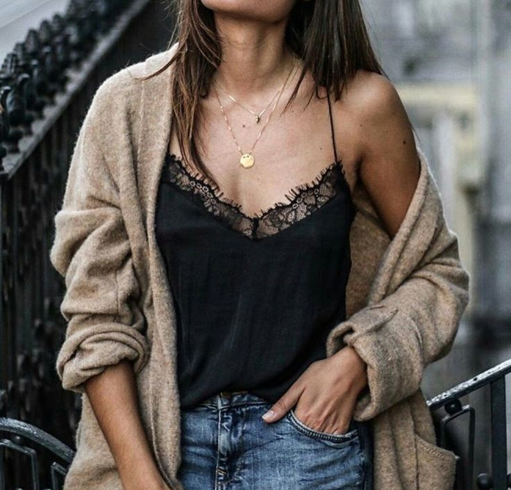 || tan cardigan, black lace tank top, gold necklaces, and jeans ||