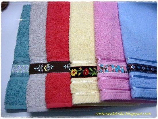 Toalhas simples + gorgurão = Toalhas personalizadas. (costurasdakrika.blogspot.com.br)