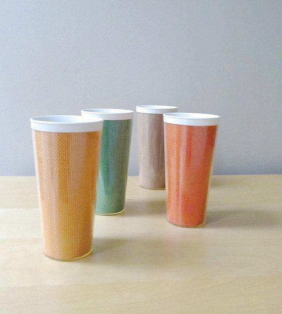 1960s raffiaware tumblers retro plastic drinking glasses