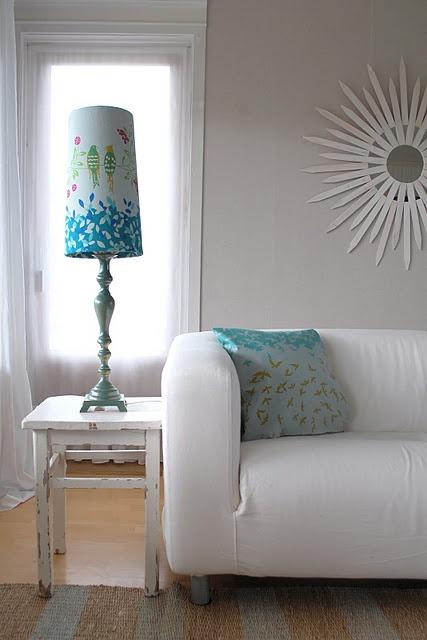 fabric covered lampshade.. its echino!