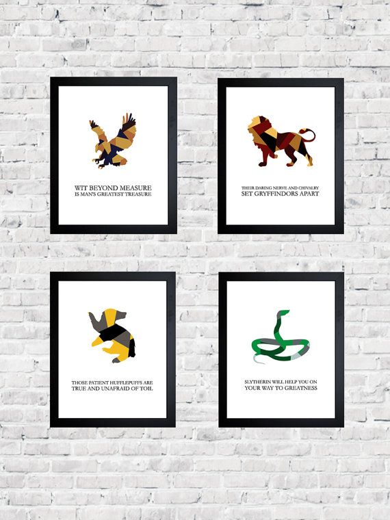Set Of Four Hogwarts House Mottos Harry Potter By