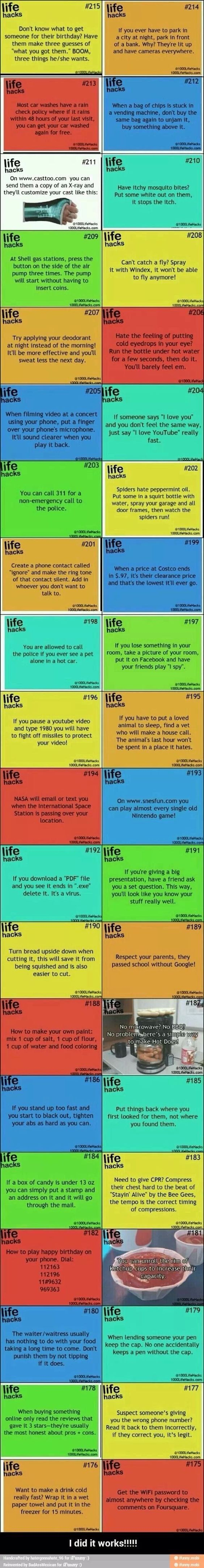 The best life hack list. I especially like the birthday gift idea & playing I-spy to find something you lost in your room.