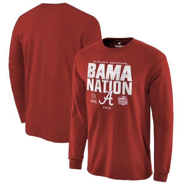 Alabama Crimson Tide Fanatics Branded College Football Playoff 2016 Peach Bowl Bound Nation Long Sleeve T-Shirt - Crimson - $20.99